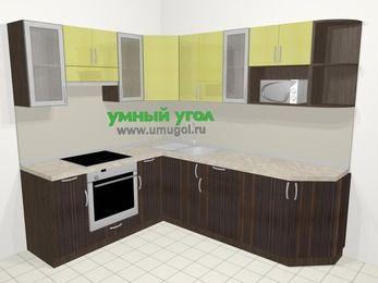 Кухни пластиковые угловые в современном стиле 6,6 м², 190 на 240 см, Желтый Галлион глянец / Дерево Мокка, верхние модули 72 см, модуль под свч, встроенный духовой шкаф