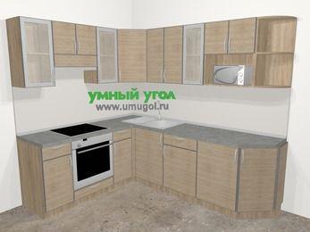 Кухни пластиковые угловые в стиле лофт 6,6 м², 190 на 240 см, Чибли бежевый, верхние модули 72 см, модуль под свч, встроенный духовой шкаф