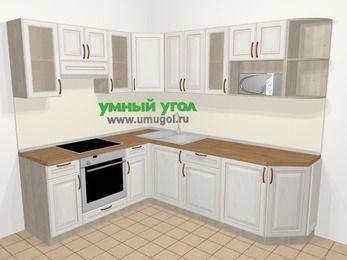 Угловая кухня МДФ патина в классическом стиле 6,6 м², 190 на 240 см, Лиственница белая, верхние модули 72 см, модуль под свч, встроенный духовой шкаф