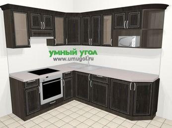 Угловая кухня МДФ патина в классическом стиле 6,6 м², 190 на 240 см, Венге, верхние модули 72 см, модуль под свч, встроенный духовой шкаф
