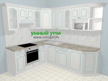 Угловая кухня МДФ патина в стиле прованс 6,6 м², 190 на 240 см, Лиственница белая, верхние модули 72 см, модуль под свч, встроенный духовой шкаф