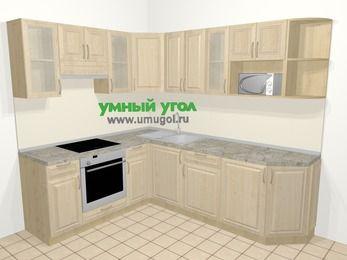 Угловая кухня из массива дерева в классическом стиле 6,6 м², 190 на 240 см, Светло-коричневые оттенки, верхние модули 72 см, модуль под свч, встроенный духовой шкаф