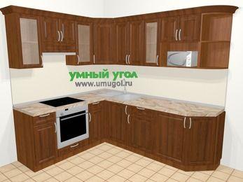 Угловая кухня из массива дерева в классическом стиле 6,6 м², 190 на 240 см, Темно-коричневые оттенки, верхние модули 72 см, модуль под свч, встроенный духовой шкаф
