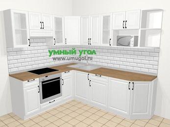 Угловая кухня из массива дерева в скандинавском стиле 6,6 м², 190 на 240 см, Белые оттенки, верхние модули 72 см, модуль под свч, встроенный духовой шкаф