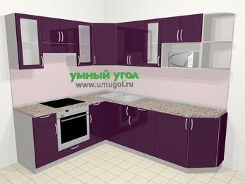 Угловая кухня МДФ глянец в современном стиле 6,6 м², 190 на 240 см, Баклажан, верхние модули 72 см, модуль под свч, встроенный духовой шкаф