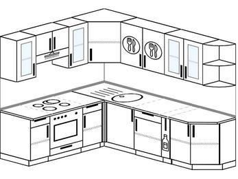 Угловая кухня 6,6 м² (1,9✕2,4 м), верхние модули 72 см, встроенный духовой шкаф