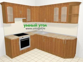 Угловая кухня МДФ матовый в классическом стиле 6,6 м², 190 на 240 см, Вишня, верхние модули 72 см, встроенный духовой шкаф