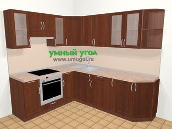 Угловая кухня МДФ матовый в классическом стиле 6,6 м², 190 на 240 см, Вишня темная, верхние модули 72 см, встроенный духовой шкаф