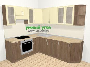 Угловая кухня МДФ матовый в современном стиле 6,6 м², 190 на 240 см, Ваниль / Лиственница бронзовая, верхние модули 72 см, встроенный духовой шкаф