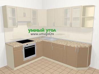 Угловая кухня МДФ матовый в современном стиле 6,6 м², 190 на 240 см, Керамик / Кофе, верхние модули 72 см, встроенный духовой шкаф
