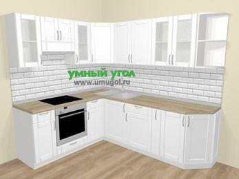 Угловая кухня МДФ матовый  в скандинавском стиле 6,6 м², 190 на 240 см, Белый, верхние модули 72 см, встроенный духовой шкаф