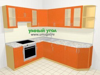 Угловая кухня МДФ металлик в современном стиле 6,6 м², 190 на 240 см, Оранжевый металлик, верхние модули 72 см, встроенный духовой шкаф