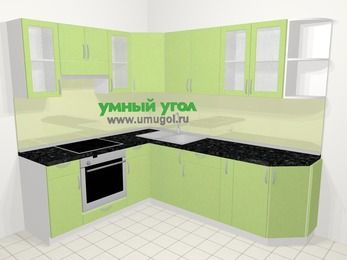 Угловая кухня МДФ металлик в современном стиле 6,6 м², 190 на 240 см, Салатовый металлик, верхние модули 72 см, встроенный духовой шкаф