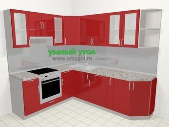 Угловая кухня МДФ глянец в современном стиле 6,6 м², 190 на 240 см, Красный, верхние модули 72 см, встроенный духовой шкаф