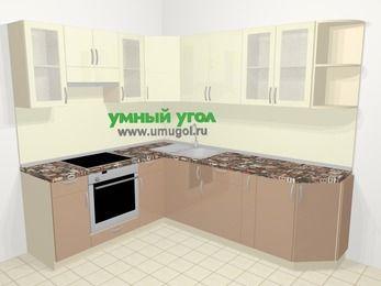 Угловая кухня МДФ глянец в современном стиле 6,6 м², 190 на 240 см, Жасмин / Капучино, верхние модули 72 см, встроенный духовой шкаф