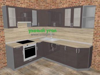 Угловая кухня МДФ глянец в стиле лофт 6,6 м², 190 на 240 см, Шоколад, верхние модули 72 см, встроенный духовой шкаф