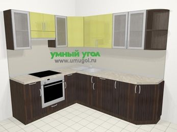 Кухни пластиковые угловые в современном стиле 6,6 м², 190 на 240 см, Желтый Галлион глянец / Дерево Мокка, верхние модули 72 см, встроенный духовой шкаф