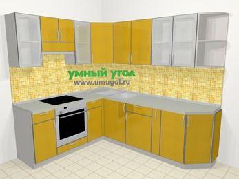 Кухни пластиковые угловые в современном стиле 6,6 м², 190 на 240 см, Желтый глянец, верхние модули 72 см, встроенный духовой шкаф
