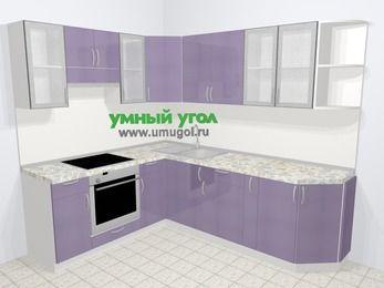 Кухни пластиковые угловые в современном стиле 6,6 м², 190 на 240 см, Сиреневый глянец, верхние модули 72 см, встроенный духовой шкаф
