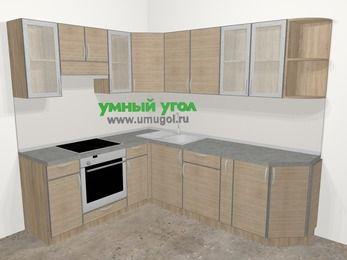 Кухни пластиковые угловые в стиле лофт 6,6 м², 190 на 240 см, Чибли бежевый, верхние модули 72 см, встроенный духовой шкаф