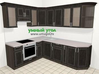 Угловая кухня МДФ патина в классическом стиле 6,6 м², 190 на 240 см, Венге, верхние модули 72 см, встроенный духовой шкаф