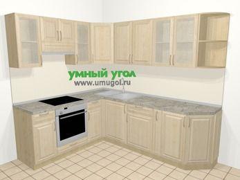 Угловая кухня из массива дерева в классическом стиле 6,6 м², 190 на 240 см, Светло-коричневые оттенки, верхние модули 72 см, встроенный духовой шкаф
