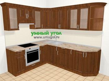 Угловая кухня из массива дерева в классическом стиле 6,6 м², 190 на 240 см, Темно-коричневые оттенки, верхние модули 72 см, встроенный духовой шкаф
