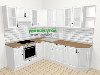 Угловая кухня из массива дерева в скандинавском стиле 6,6 м², 190 на 240 см, Белые оттенки, верхние модули 72 см, встроенный духовой шкаф