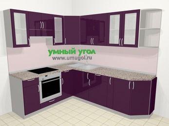 Угловая кухня МДФ глянец в современном стиле 6,6 м², 190 на 240 см, Баклажан, верхние модули 72 см, встроенный духовой шкаф
