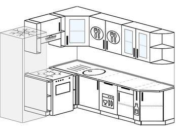 Угловая кухня 6,6 м² (1,9✕2,4 м), верхние модули 72 см, посудомоечная машина, холодильник, отдельно стоящая плита