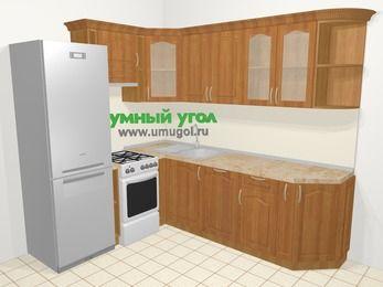 Угловая кухня МДФ матовый в классическом стиле 6,6 м², 190 на 240 см, Вишня, верхние модули 72 см, посудомоечная машина, холодильник, отдельно стоящая плита