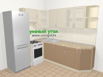 Угловая кухня МДФ матовый в современном стиле 6,6 м², 190 на 240 см, Керамик / Кофе, верхние модули 72 см, посудомоечная машина, холодильник, отдельно стоящая плита