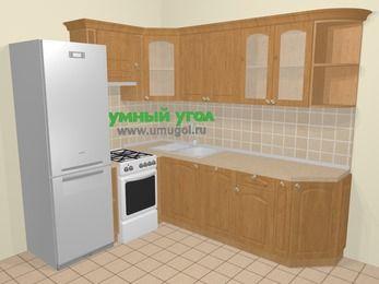 Угловая кухня МДФ матовый в стиле кантри 6,6 м², 190 на 240 см, Ольха, верхние модули 72 см, посудомоечная машина, холодильник, отдельно стоящая плита