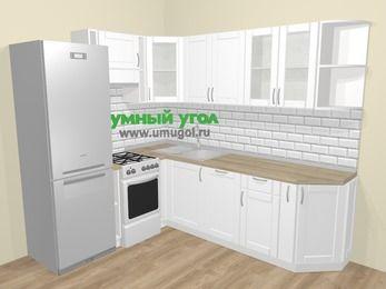 Угловая кухня МДФ матовый  в скандинавском стиле 6,6 м², 190 на 240 см, Белый, верхние модули 72 см, посудомоечная машина, холодильник, отдельно стоящая плита