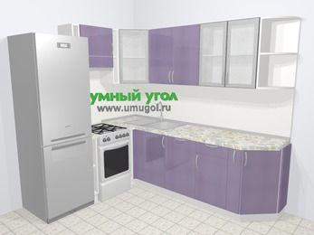 Кухни пластиковые угловые в современном стиле 6,6 м², 190 на 240 см, Сиреневый глянец, верхние модули 72 см, посудомоечная машина, холодильник, отдельно стоящая плита