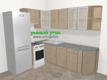 Кухни пластиковые угловые в стиле лофт 6,6 м², 190 на 240 см, Чибли бежевый, верхние модули 72 см, посудомоечная машина, холодильник, отдельно стоящая плита