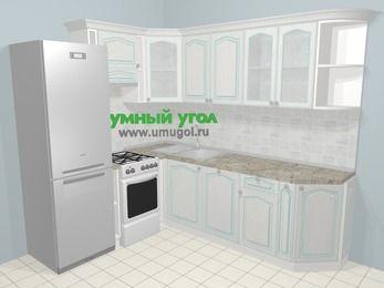 Угловая кухня МДФ патина в стиле прованс 6,6 м², 190 на 240 см, Лиственница белая, верхние модули 72 см, посудомоечная машина, холодильник, отдельно стоящая плита