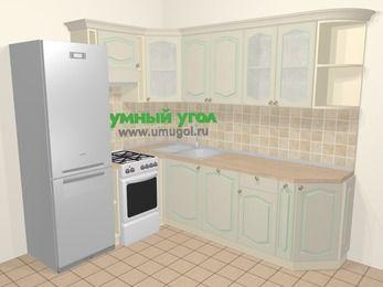 Угловая кухня МДФ патина в стиле прованс 6,6 м², 190 на 240 см, Керамик, верхние модули 72 см, посудомоечная машина, холодильник, отдельно стоящая плита