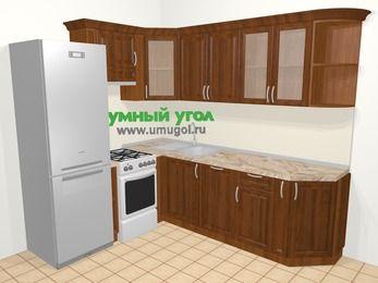 Угловая кухня из массива дерева в классическом стиле 6,6 м², 190 на 240 см, Темно-коричневые оттенки, верхние модули 72 см, посудомоечная машина, холодильник, отдельно стоящая плита