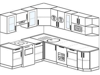 Угловая кухня 6,6 м² (1,9✕2,4 м), верхние модули 72 см, посудомоечная машина, модуль под свч, отдельно стоящая плита