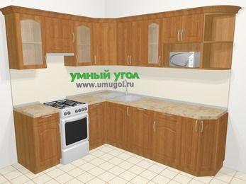 Угловая кухня МДФ матовый в классическом стиле 6,6 м², 190 на 240 см, Вишня, верхние модули 72 см, посудомоечная машина, модуль под свч, отдельно стоящая плита