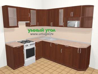 Угловая кухня МДФ матовый в классическом стиле 6,6 м², 190 на 240 см, Вишня темная, верхние модули 72 см, посудомоечная машина, модуль под свч, отдельно стоящая плита