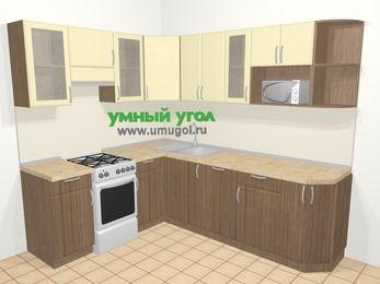 Угловая кухня МДФ матовый в современном стиле 6,6 м², 190 на 240 см, Ваниль / Лиственница бронзовая, верхние модули 72 см, посудомоечная машина, модуль под свч, отдельно стоящая плита