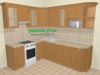 Угловая кухня МДФ матовый в стиле кантри 6,6 м², 190 на 240 см, Ольха, верхние модули 72 см, посудомоечная машина, модуль под свч, отдельно стоящая плита