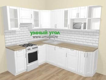 Угловая кухня МДФ матовый  в скандинавском стиле 6,6 м², 190 на 240 см, Белый, верхние модули 72 см, посудомоечная машина, модуль под свч, отдельно стоящая плита