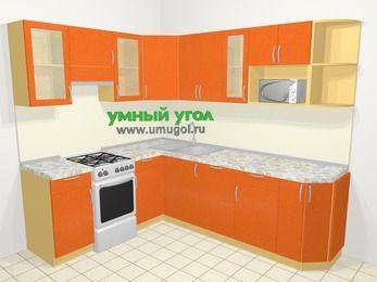 Угловая кухня МДФ металлик в современном стиле 6,6 м², 190 на 240 см, Оранжевый металлик, верхние модули 72 см, посудомоечная машина, модуль под свч, отдельно стоящая плита