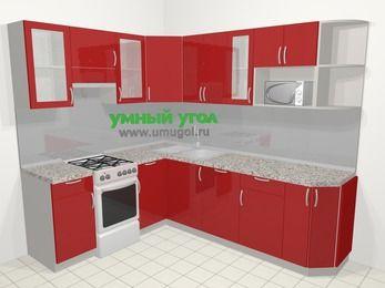 Угловая кухня МДФ глянец в современном стиле 6,6 м², 190 на 240 см, Красный, верхние модули 72 см, посудомоечная машина, модуль под свч, отдельно стоящая плита