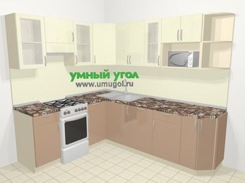 Угловая кухня МДФ глянец в современном стиле 6,6 м², 190 на 240 см, Жасмин / Капучино, верхние модули 72 см, посудомоечная машина, модуль под свч, отдельно стоящая плита
