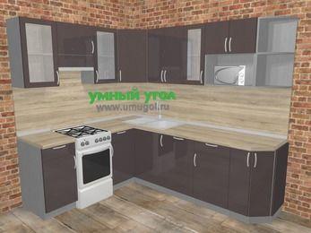 Угловая кухня МДФ глянец в стиле лофт 6,6 м², 190 на 240 см, Шоколад, верхние модули 72 см, посудомоечная машина, модуль под свч, отдельно стоящая плита