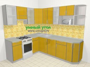 Кухни пластиковые угловые в современном стиле 6,6 м², 190 на 240 см, Желтый глянец, верхние модули 72 см, посудомоечная машина, модуль под свч, отдельно стоящая плита